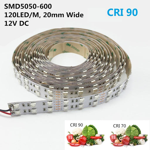High CRI >90 DC 12V Dimmable SMD5050-600 Double Row Flexible LED Strips 120 LEDs Per Meter 15mm Width 1800lm Per Meter - LEDStrips8