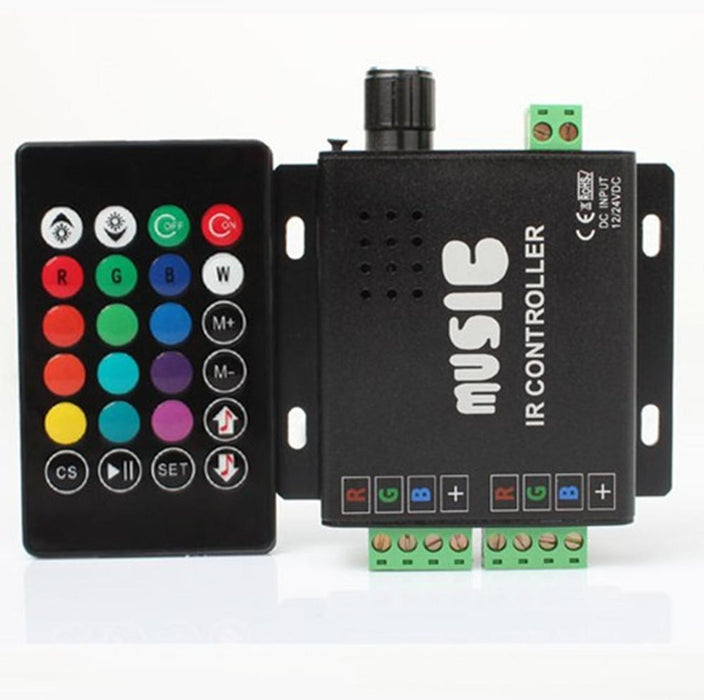Sound/Music Sensitive RGB LED Controller 12V-24VDC 12Amp Black Aluminum Housing Controller with 24 Keys IR Remote for RGB LED Strip Lights - LEDStrips8