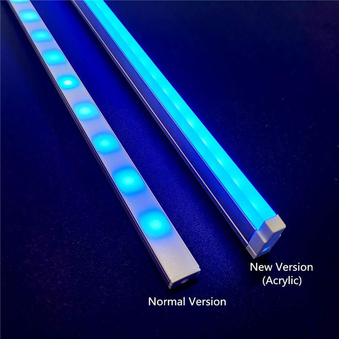 5Pack 3.3ft/1M RGB Color Changing LED Light Bar Kit with LED Crystal Hanging Linear Light Aluminum Channel System Ultra Thin Silver Track Lighting Kit Profile Acrylic Frosted Covers, Extrusion include the 6mm RGB LED Tape Strip Light inside - LEDStrips8