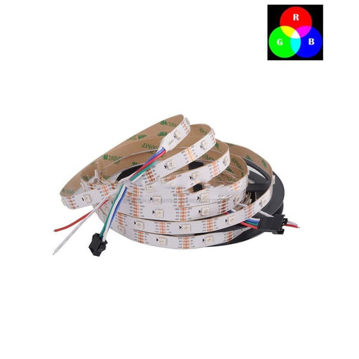DC 5V TM1914 Breakpoint Continuingly 5050 RGB Color Changing Addressable LED Strip Light 16.4 Ft (500cm) 30LED/Meter LED Pixel Flexible Tape White PCB - LEDStrips8