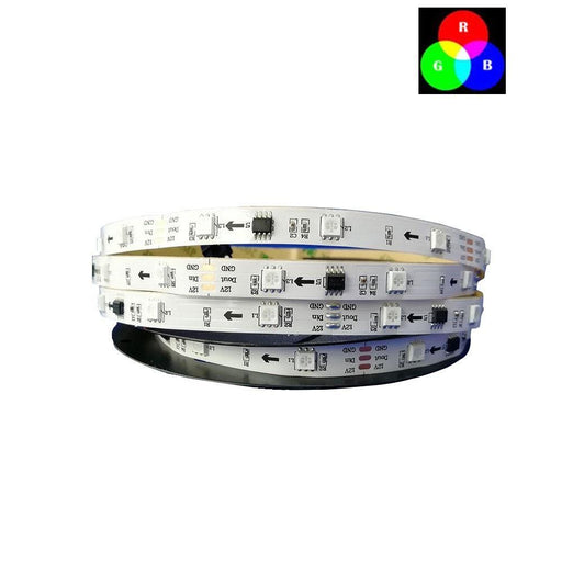 DC 12V TM1914 Breakpoint Continuingly 5050 RGB Color Changing Addressable LED Strip Light 16.4 Ft (500cm) 60LED/Mtr LED Pixel Flexible Tape White PCB - LEDStrips8