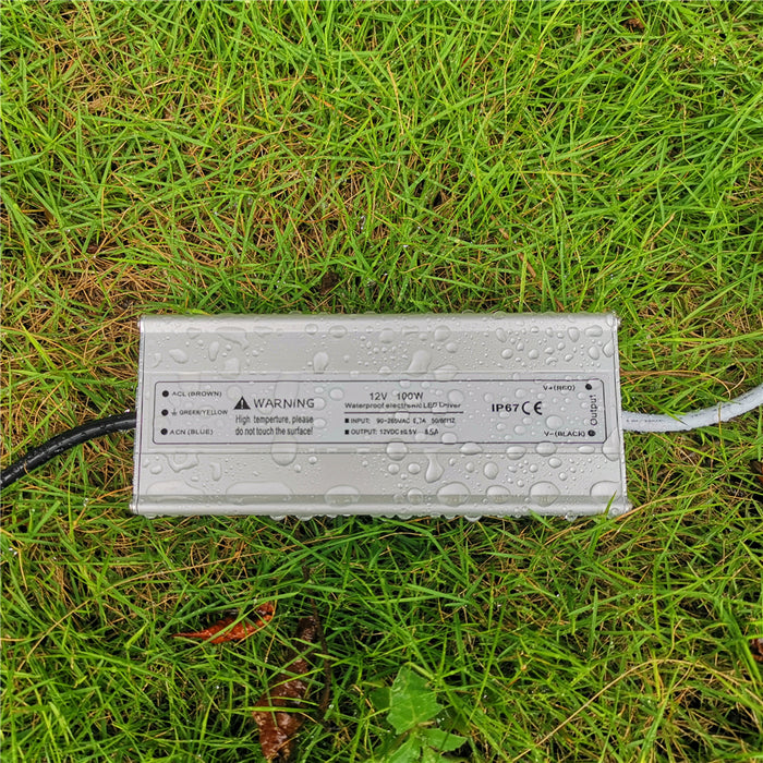 110VAC to 12VDC 8.3Amp 100W Waterproof IP67 LED Power Supply Outdoor Use w/ US 3.3FT 3-Prong Plug