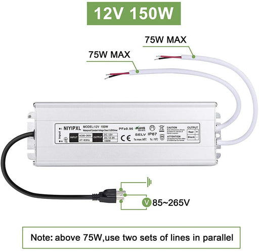 110VAC to 12VDC 12.5Amp 150W Waterproof IP67 LED Power Supply Outdoor Use w/ US 3.3FT 3-Prong Plug
