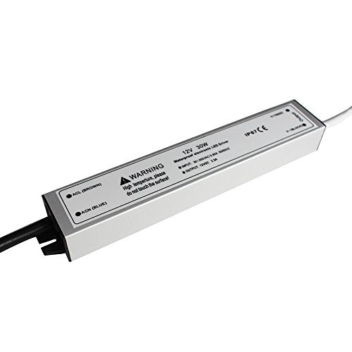 110VAC to 12VDC 2.5Amp 30W Waterproof IP67 LED Power Supply Outdoor Use w/ US 3.3FT 3-Prong Plug