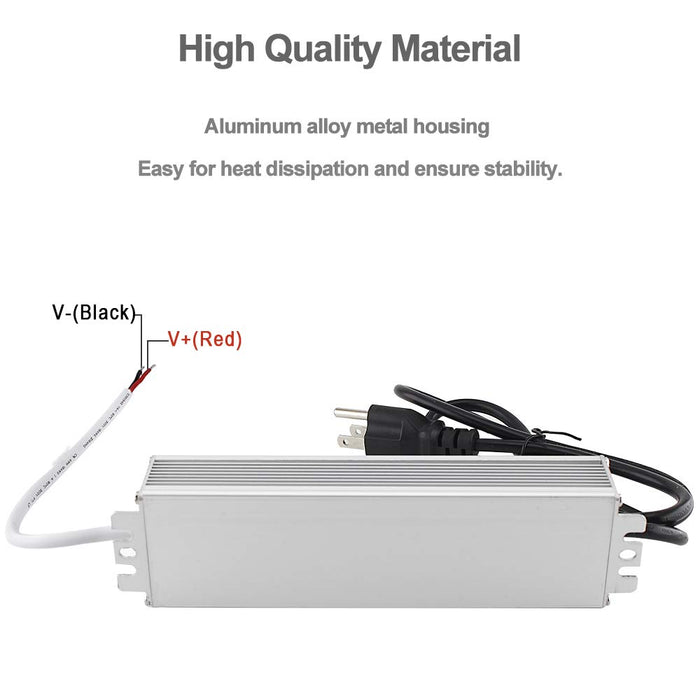 110VAC to 12VDC 5Amp 60W Waterproof IP67 LED Power Supply Outdoor Use w/ US 3.3FT 3-Prong Plug