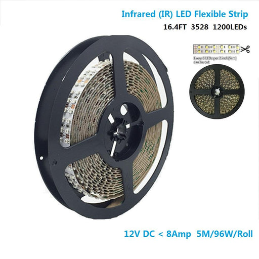 DC12V SMD3528-1200-IR InfraRed (850nm/940nm) Signle Chip Double Row Flexible LED Strips 240LEDs 19.2W Per Meter - LEDStrips8