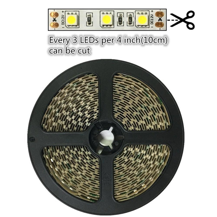 DC 12V Dimmable 670NM Red SMD5050-300 Flexible LED Strips 60 LEDs Per Meter 8mm Width 12W Per Meter - LEDStrips8