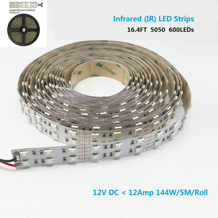 DC12V SMD5050-600-IR InfraRed (850nm/940nm) Tri-Chip Double Row Flexible LED Strips 120LEDs 28.8W Per Meter - LEDStrips8