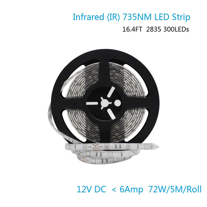 DC 12V Dimmable 735NM Red SMD2835-300 Flexible LED Strips 60 LEDs Per Meter 8mm Width 12W Per Meter - LEDStrips8