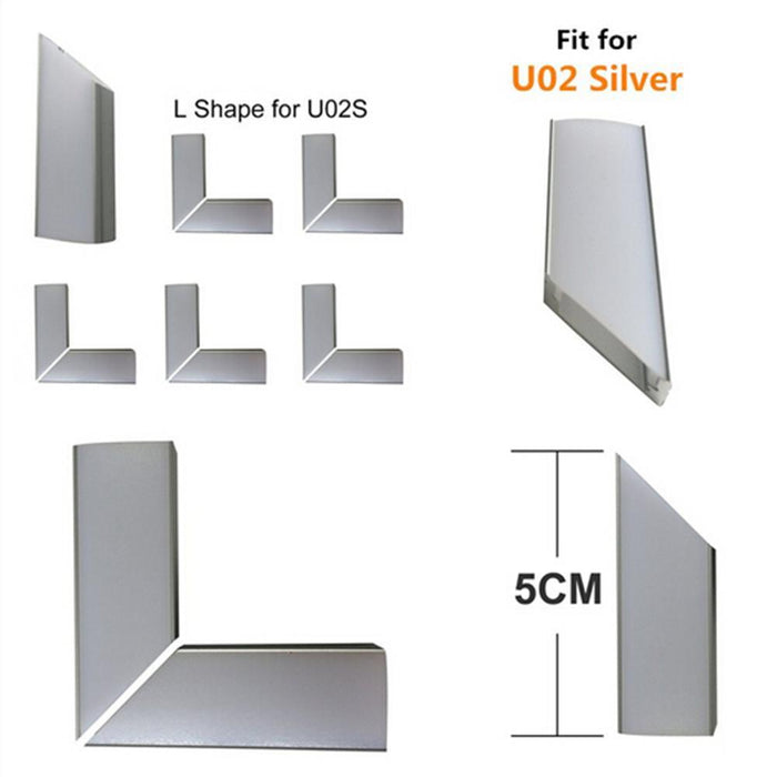 5Pair/10Pcs Spliced L-shape Adapter of LED Aluminum Channel Solution for 90 Angle Turning Corner Cabinet Bar Kitchen Wardrobe Installation Fit for Aluminum Profile Model U01, U02, U03, U04, U05,U06 - LEDStrips8