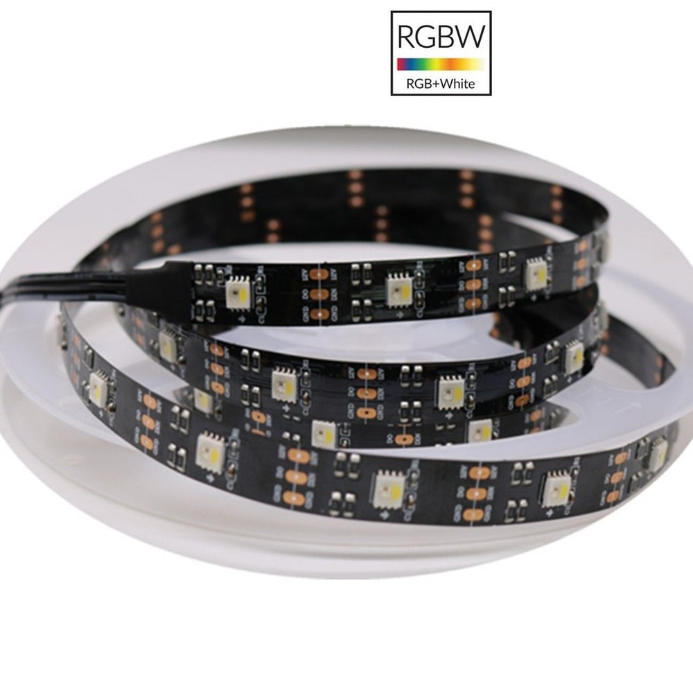 DC 12V SK6812 Individually Addressable LED Strip Light 5050 RGBW 16.4 Feet (500cm) 30LED/Meter LED Pixel Flexible Tape Black PCB - LEDStrips8
