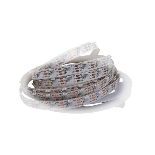 DC 5V 5Meter (16.4Ft) Side Emitting RGB SMD4020 SK6812 Individually Addressable LED Strip Light 60LED/Meter LED Pixel Flexible Tape White PCB - LEDStrips8