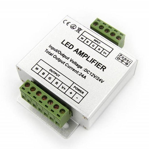 4 Channel RGBW Amplifier for 12V or 24V RGBW / RGBWW or RGB Color LED Flexible Strip Lights - LEDStrips8