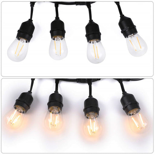 10-Pack Waterproof LED Outdoor String Lights each string w/ 15pcs Warm White S14 2W Edison Bulbs