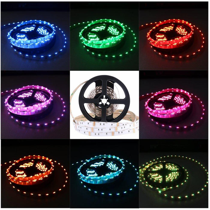 DC12V  SMD020 Side Emitting RGB Color Changing LED Strip Lights 60LEDs Per Meter 10mm White PCB Flexible Adhesive Tape - LEDStrips8