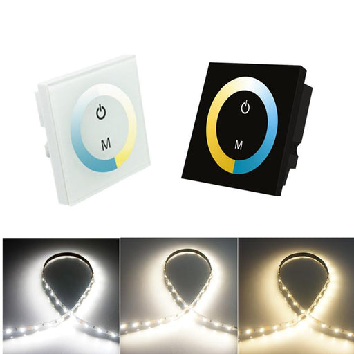 12V-24V DC TM07 Wall Panel Touchable Color Ring LED Controller for Dual White Color Temperature Adjustable LED Strips - LEDStrips8
