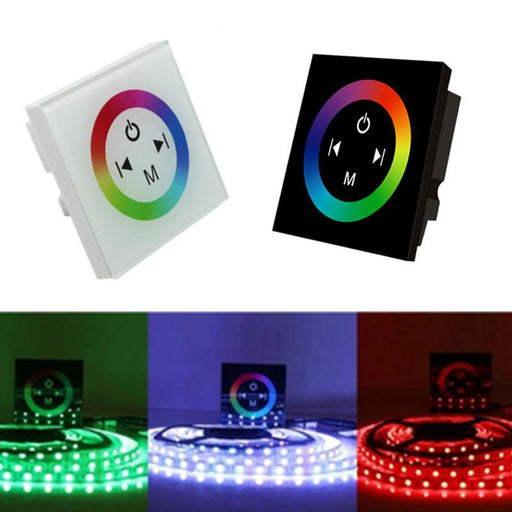 12V-24V DC TM08 Wall Panel Touchable Color Ring LED Controller for RGB Color Changing LED Strips - LEDStrips8