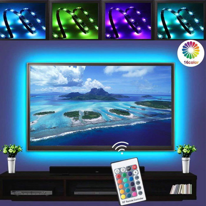 5V 3M/9.9ft LED TV Backlights USB Powered Bias Lighting Kit with RF Remote Controller (16 Colors and 4 Dynamic Modes) for HDTV/PC Monitor/Home Theater - LEDStrips8