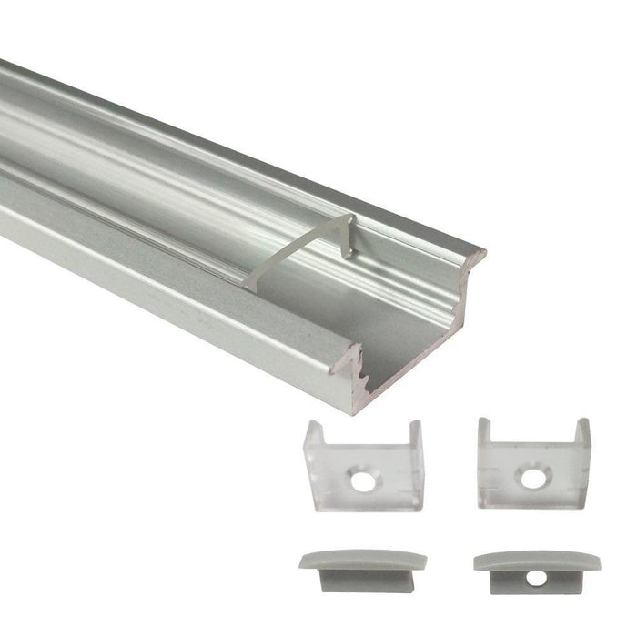 5/10/25/50 Pack Silver U01 9x23mm U-Shape Internal Profile Width 12mm LED Aluminum Channel System with Cover, End Caps and Mounting Clips for LED Strip Light Installations - LEDStrips8