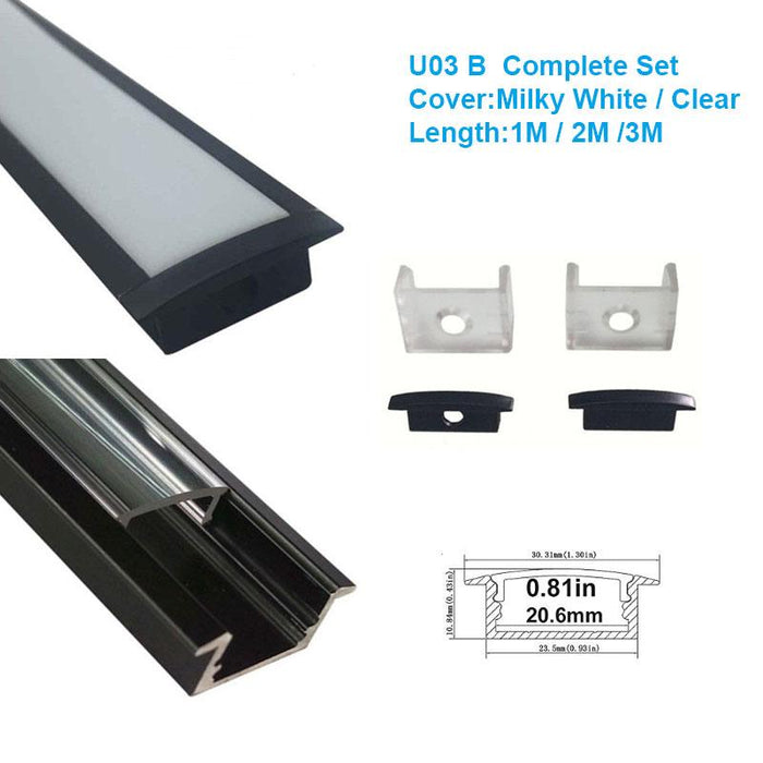 5/10/25/50 Pack Black U03 10x30mm U-Shape Internal Width 20mm LED Aluminum Channel System with Cover, End Caps and Mounting Clips Aluminum Profile for LED Strip Light Installations - LEDStrips8