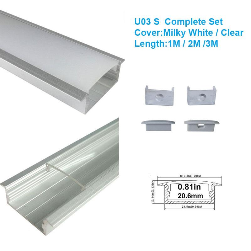 5/10/25/50 Pack Silver U03 10x30mm U-Shape Internal Width 20mm LED Aluminum Channel System with Cover, End Caps and Mounting Clips Aluminum Profile for LED Strip Light Installations - LEDStrips8