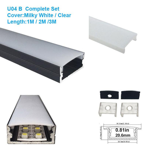 5/10/25/50 Pack Black U04 10x23mm U-Shape Internal Width 20mm LED Aluminum Channel System with Cover, End Caps and Mounting Clips Aluminum Extrusion for LED Strip Light Installations - LEDStrips8