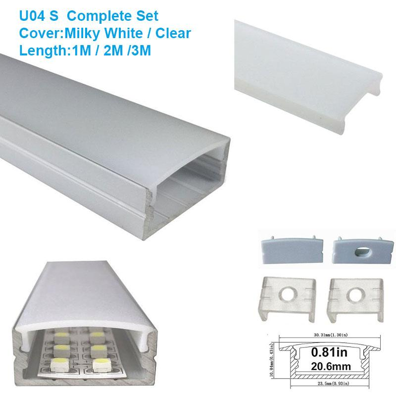 5/10/25/50 Pack Silver U04 10x23mm U-Shape Internal Width 20mm LED Aluminum Channel System with Cover, End Caps and Mounting Clips Aluminum Extrusion for LED Strip Light Installations - LEDStrips8