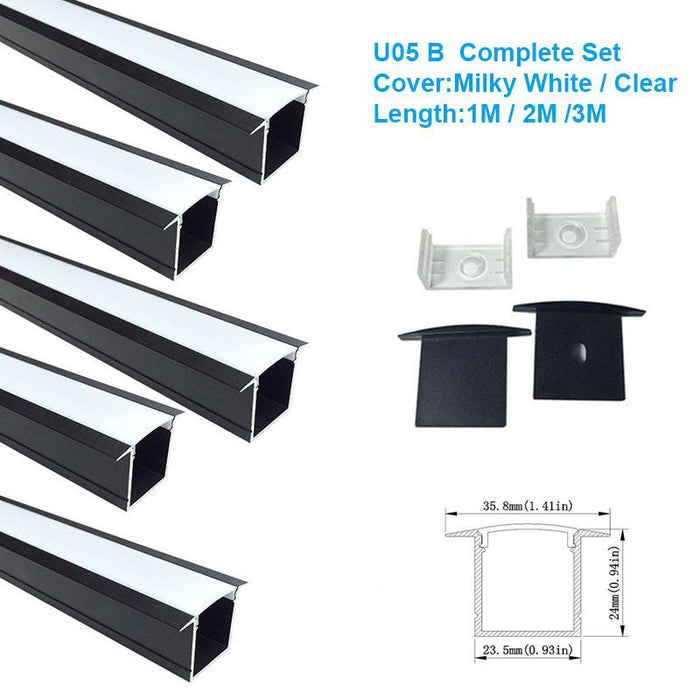 5/10/25/50 Pack Black U05 36x24mm U-Shape Internal Width 20mm LED Aluminum Channel System with Cover, End Caps and Mounting Clips Aluminum Profile for LED Strip Light Installations - LEDStrips8