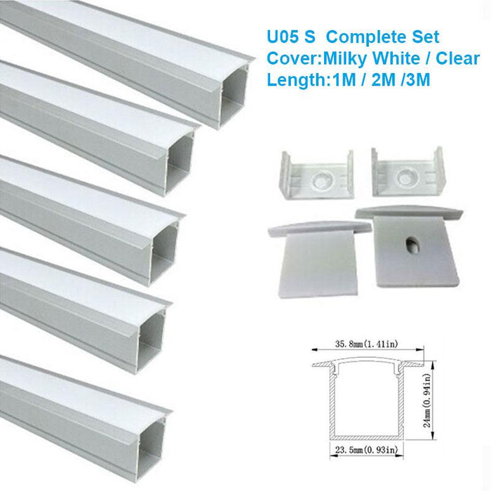 5/10/25/50 Pack Silver U05 36x24mm U-Shape Internal Width 20mm LED Aluminum Channel System with Cover, End Caps and Mounting Clips Aluminum Profile for LED Strip Light Installations - LEDStrips8