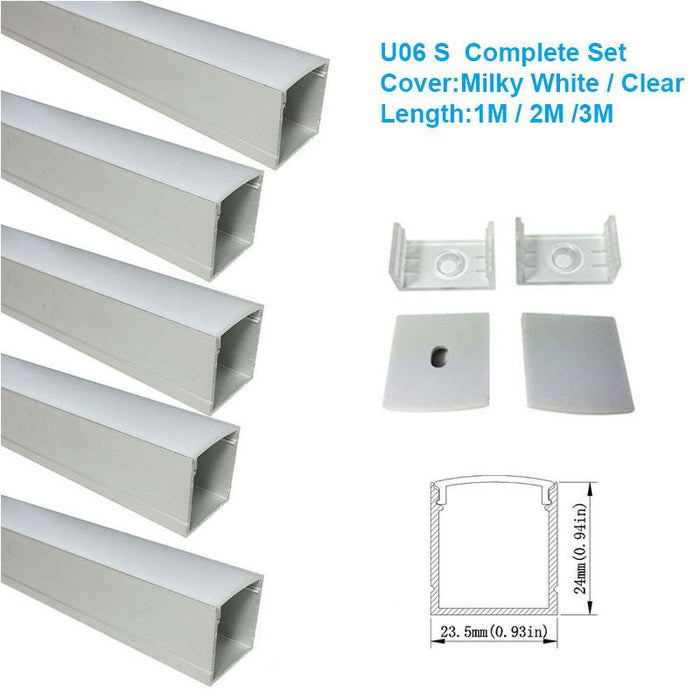 5/10/25/50 Pack Silver U06 24x24mm Silver U Shape LED Aluminum Channel Internal width 20mm with White Diffuser Cover, End Caps and Mounting Clips for LED Strip Light Installations - LEDStrips8