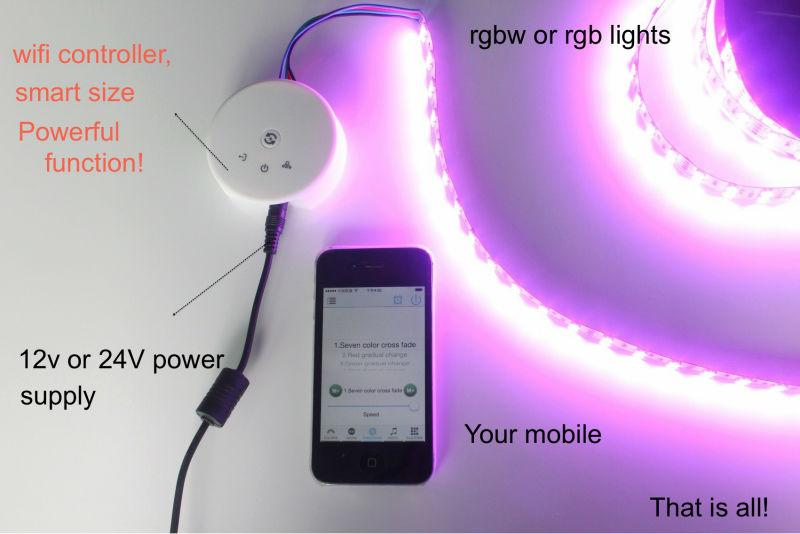 UFO WiFi Smart Phone App Controllable LED RGB / RGBW Controller Wireless Controller for LED Flexible Strips - LEDStrips8