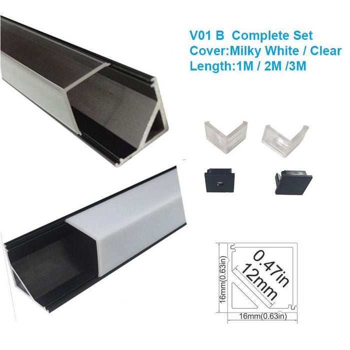 5/10/25/50 Pack Black V01 16x16mm V-Shape Vertical Angle Cover Internal Width 12mm Corner Mounting LED Aluminum Channel with End Caps and Mounting Clips Aluminum Extrusion - LEDStrips8