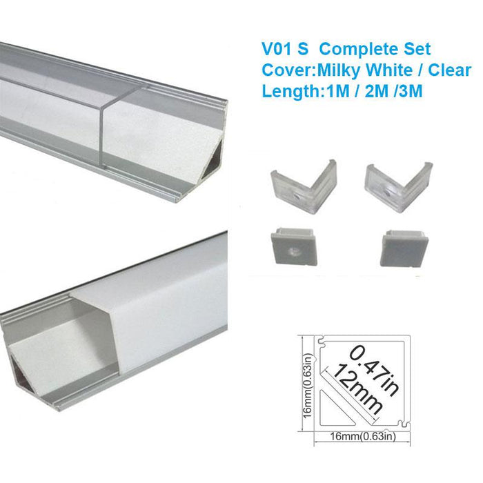5/10/25/50 Pack Silver V01 16x16mm V-Shape Vertical Angle Cover Internal Width 12mm Corner Mounting LED Aluminum Channel with End Caps and Mounting Clips Aluminum Extrusion - LEDStrips8