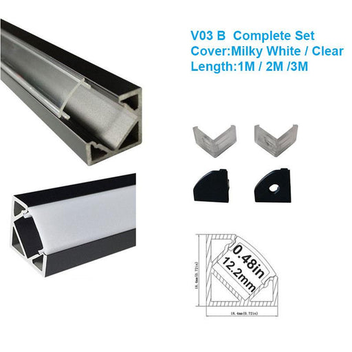 5/10/25/50 Pack Black V03 18x18mm V-Shape Internal Width 12mm Corner Mounting LED Aluminum Channel with Oyster White Cover, End Caps and Mounting Clips for Flex/Hard LED Strip Light - LEDStrips8