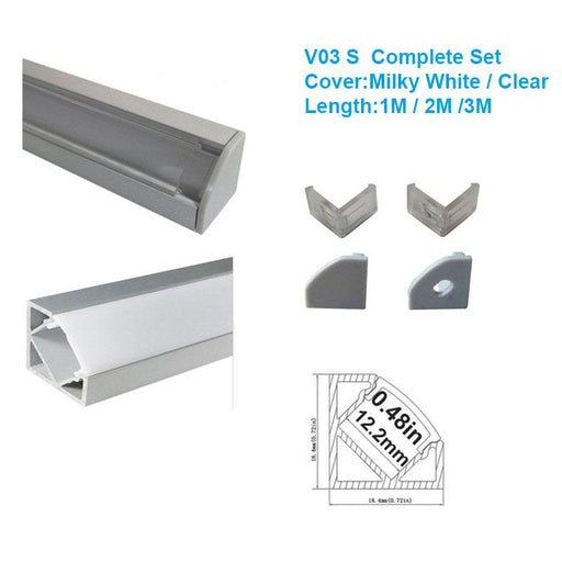 5/10/25/50 Pack Silver V03 18x18mm V-Shape Internal Width 12mm Corner Mounting LED Aluminum Channel with Oyster White Cover, End Caps and Mounting Clips for Flex/Hard LED Strip Light - LEDStrips8