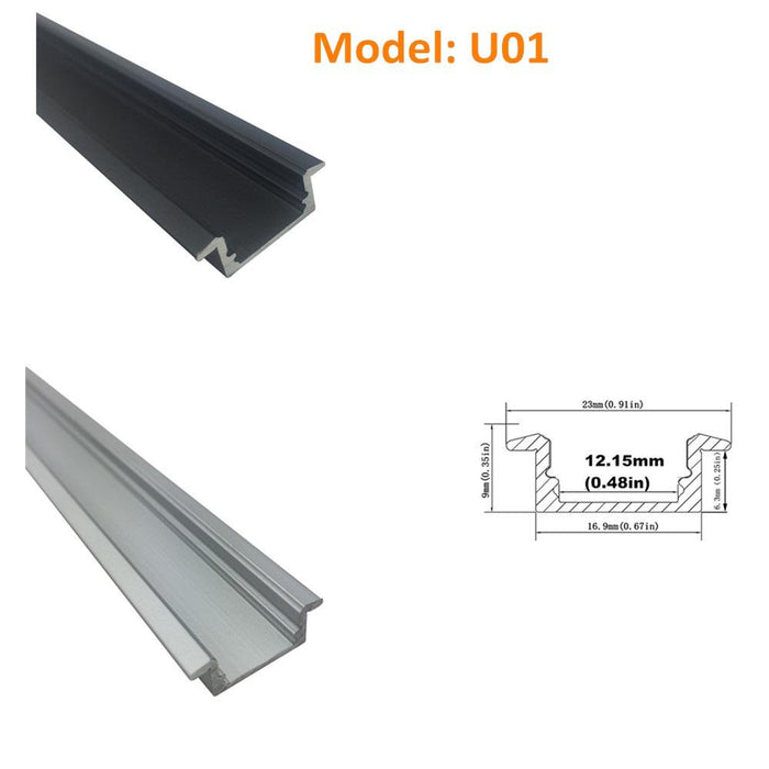 Seperate Aluminum Housing Only for U-Shape and V-Shape LED Aluminum Profile, Fit for U01, U02, U03, U04, U05, U06, V01, V02, V03 - LEDStrips8
