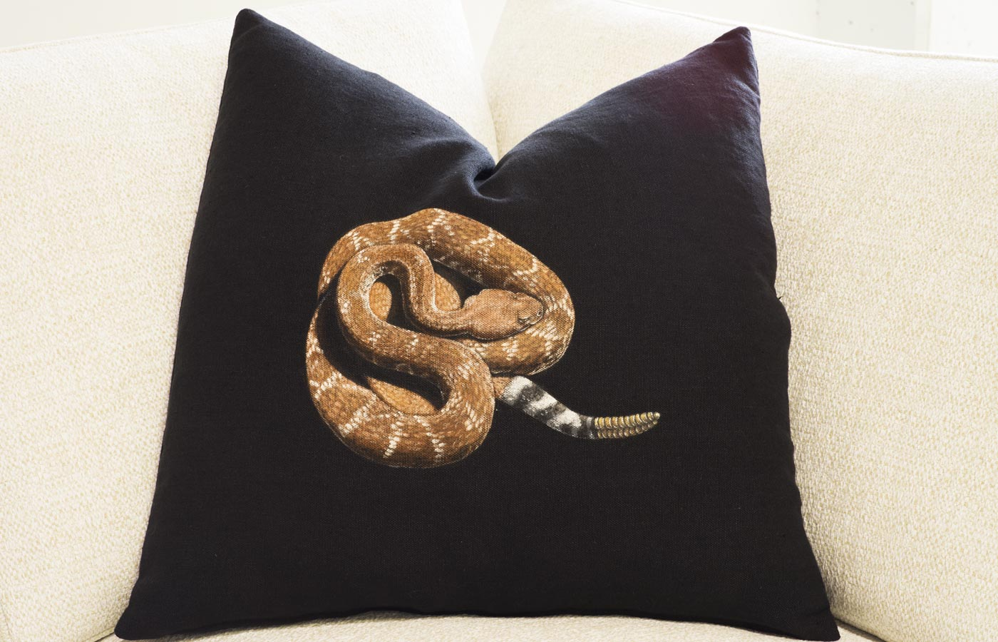Hand Painted Pillow – Red-Diamond Rattlesnake on Black Linen