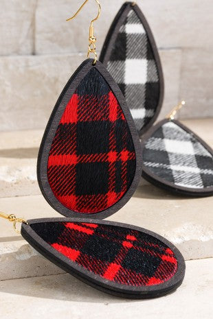 Buffalo Plaid Tear Drop Earring