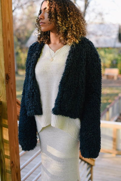 Dusk Till Dawn Furry Coat in Navy