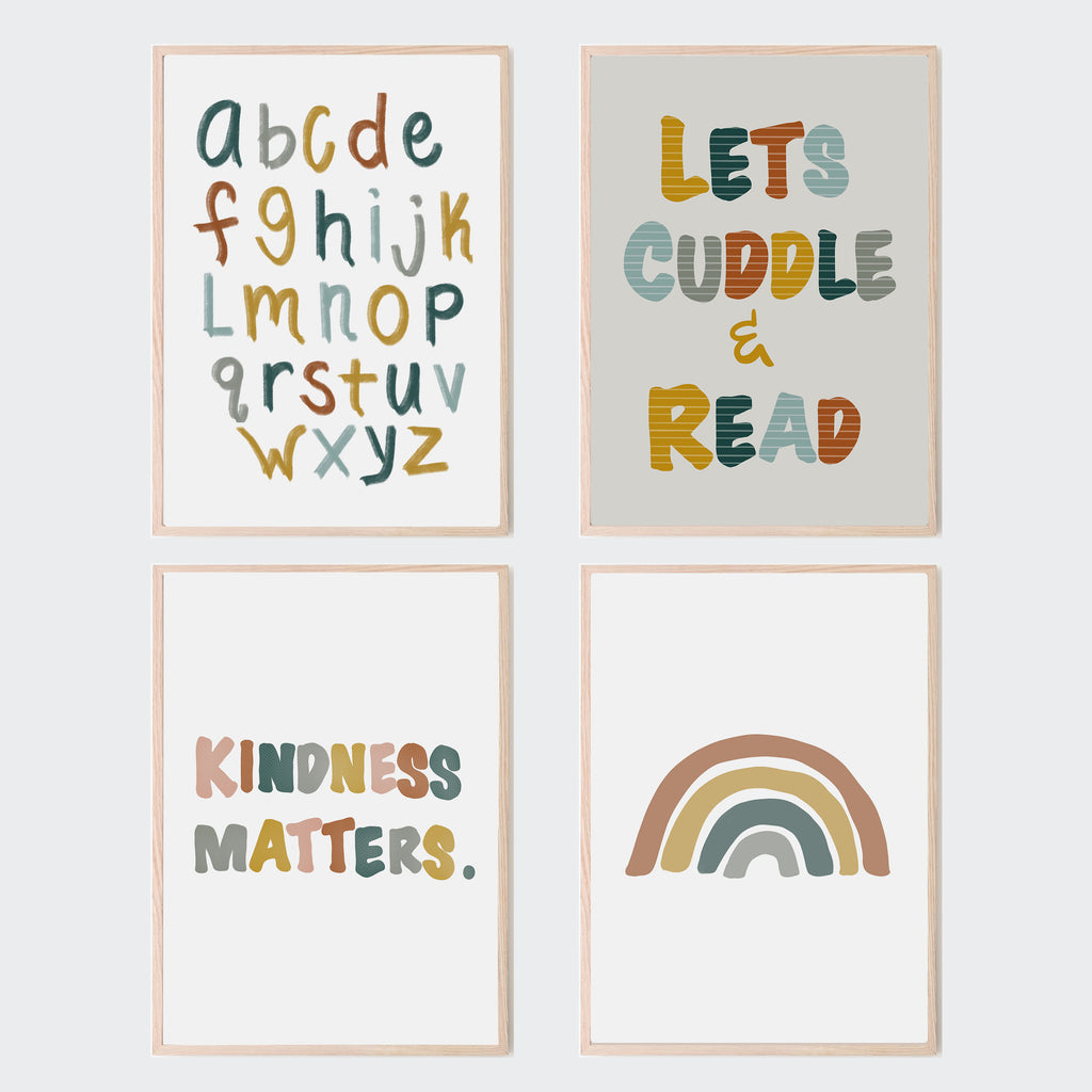 Lets Cuddle and Read art print in childrens reading nook and playroom. Retro inspired color palette