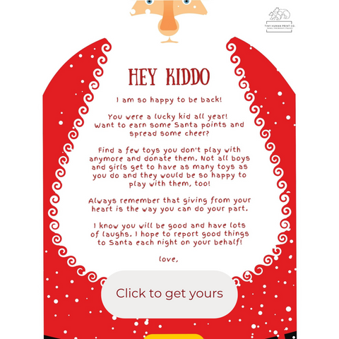 Free copy of elf on the shelf letter to encourage kids to donate old toys