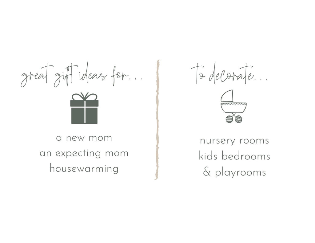 gift ideas for a new mom. gift ideas for an expecting mom for baby showers or house warming gifts. gift ideas for nursery room, kids bedrooms and playrooms