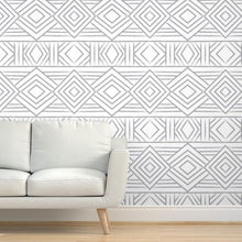 Load image into Gallery viewer, Tribal Grey Geometric Wallpaper