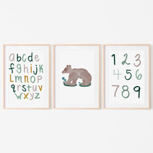Woodland Alphabet, Numbers and Brown Bear Art Prints (Set of 3)