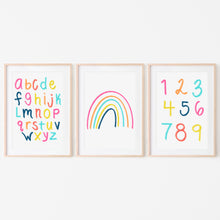 Load image into Gallery viewer, Alphabet, Numbers & Rainbow Art Prints (Set of 3) | Bright Sunshine