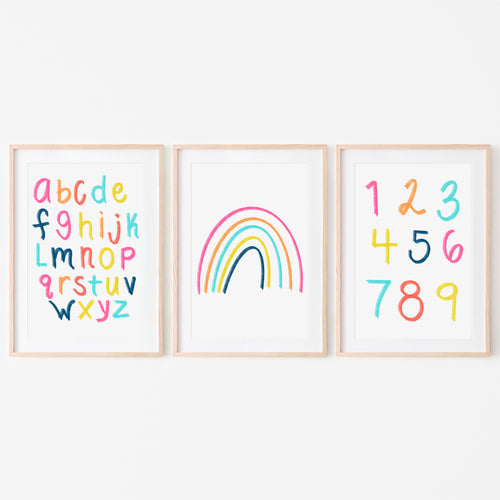 Alphabet, Numbers & Rainbow Art Prints (Set of 3) | Bright Sunshine