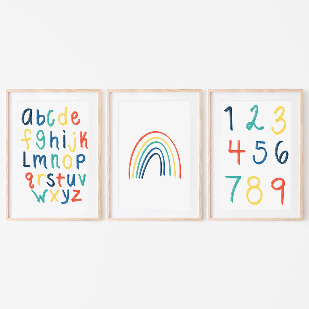 alphabet wall poster. red, orange yellow blue. Primary color alphabet wall art. hand illustrated. hand drawn. kids bedroom wall art. kids playroom wall art. Alphabet, numbers and rainbow wall art set of 3. Simple rainbow wall art