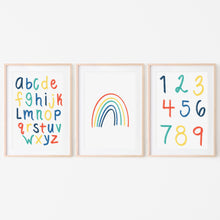 Load image into Gallery viewer, Alphabet, Numbers and Rainbow Art Prints (Set of 3) | Blue Rainbow