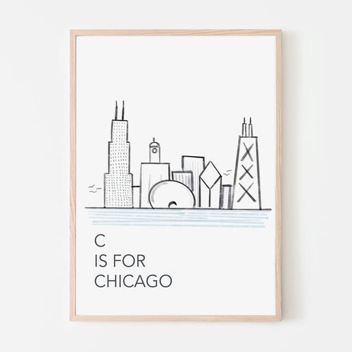 C is for Chicago Poster | Chicago Skyline and Nursery Letter
