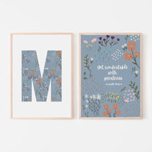 "Load image into Gallery viewer, ""Get Comfortable With Greatness"" Michelle Obama Quote with Large Letter Floral Print (Set of 2)"